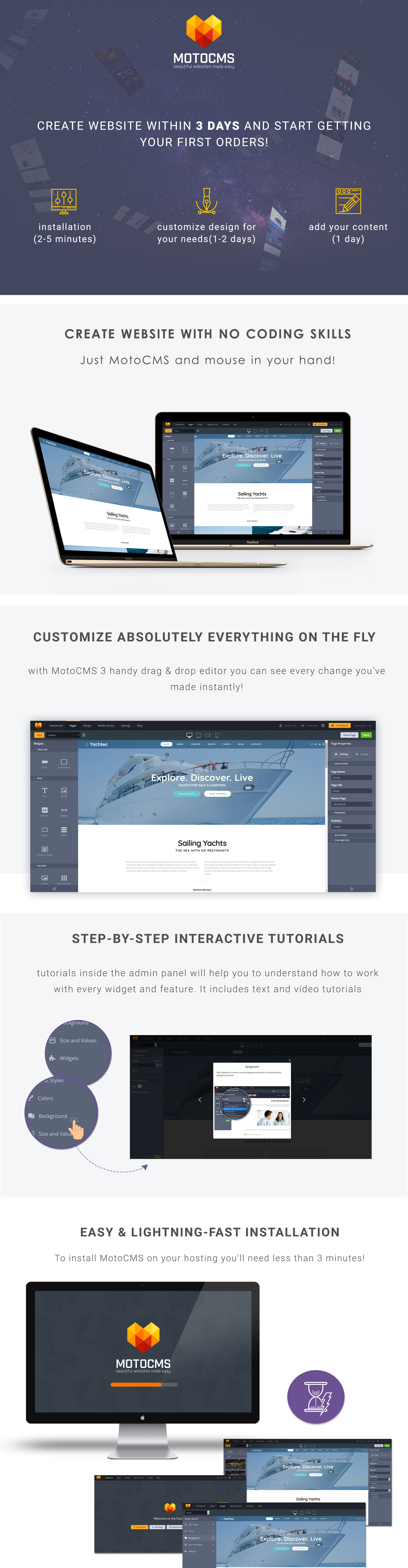 Yachting Responsive Moto CMS 3 Template