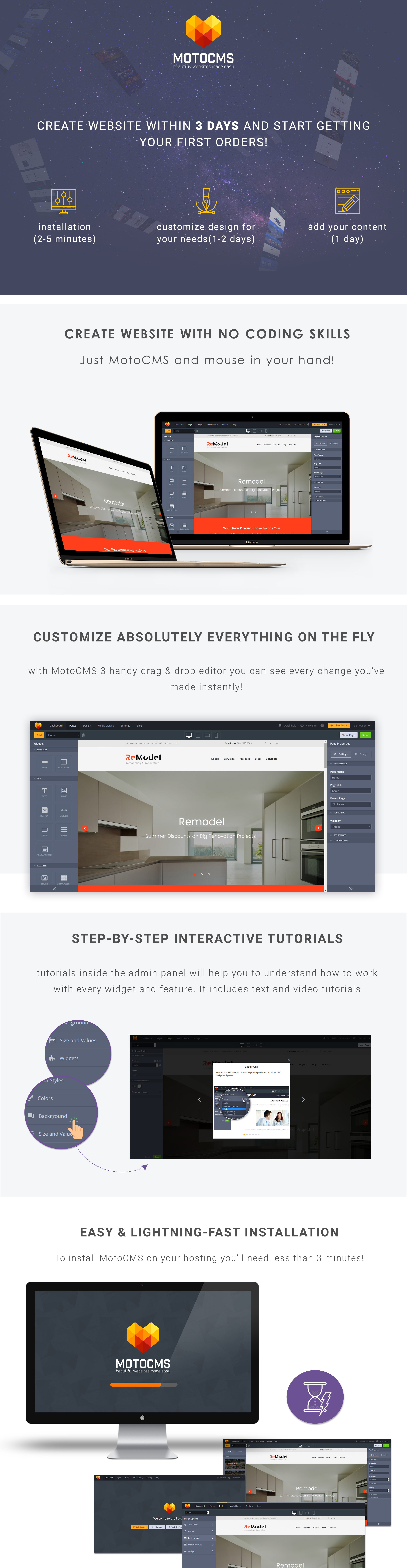 Remodel - Renovation and Interior Design Moto CMS 3 Template