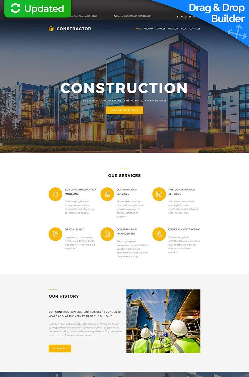 Адаптивный MotoCMS 3 шаблон №63715 на тему строительные компании