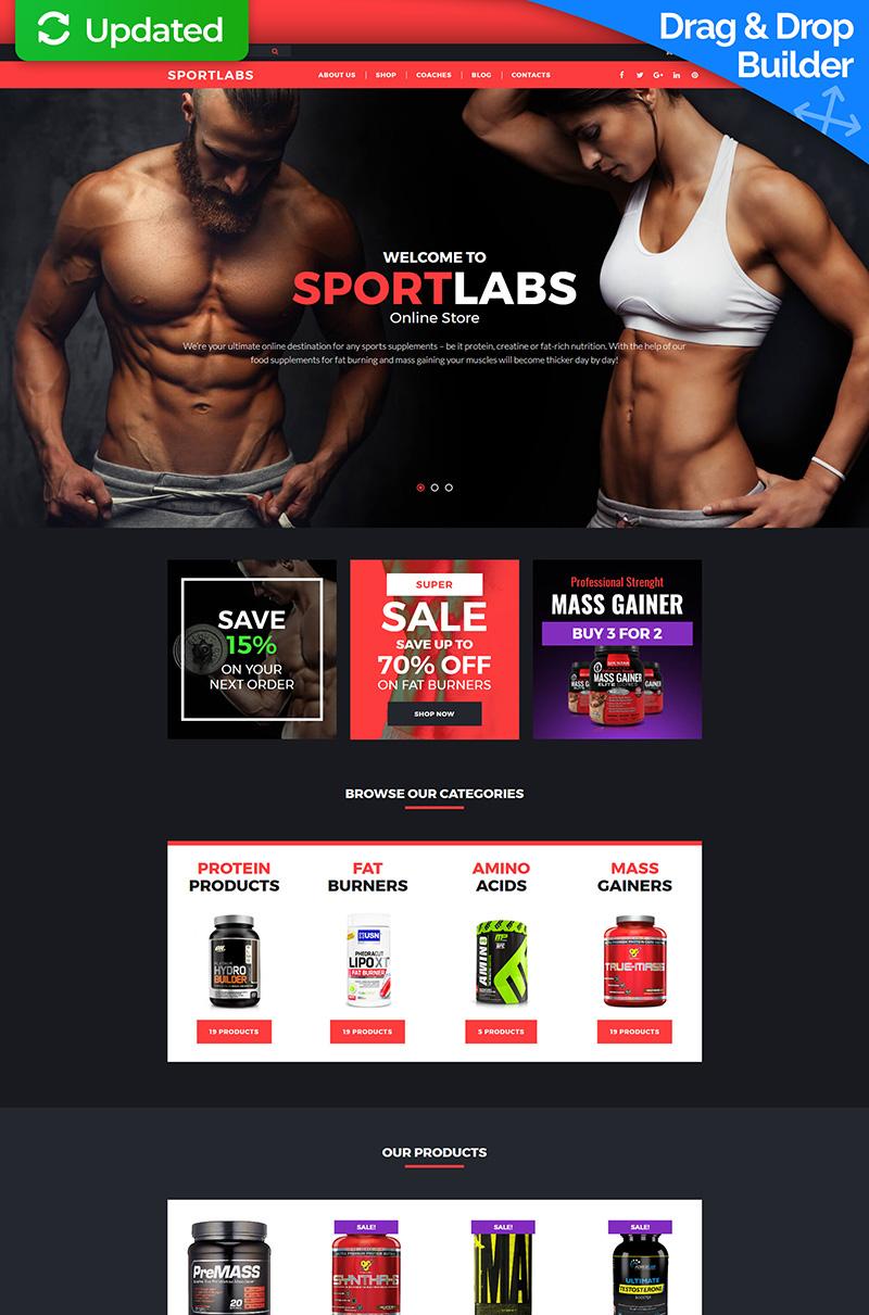 Адаптивный MotoCMS интернет-магазин №63750 на тему спортивный магазин