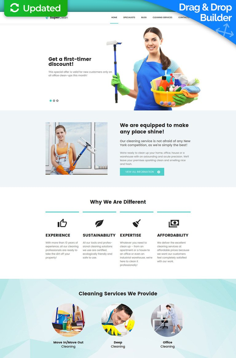 Cleaning Responsive Moto CMS 3 Template New Screenshots BIG