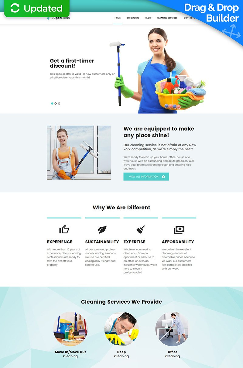 Cleaning Responsive Moto CMS 3 Template - screenshot