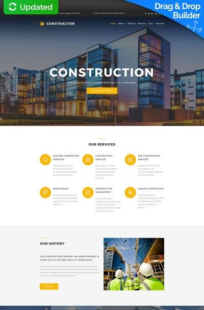 Construction Company Responsive Moto CMS 3 Template #63715