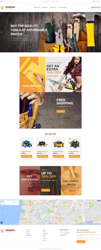 Modèle MotoCMS Pour Commerce électronique adaptatif  pour site d'outils et d'équipement