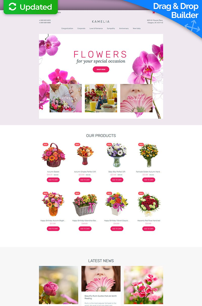 Flower Shop Responsive MotoCMS Ecommerce Template #63718