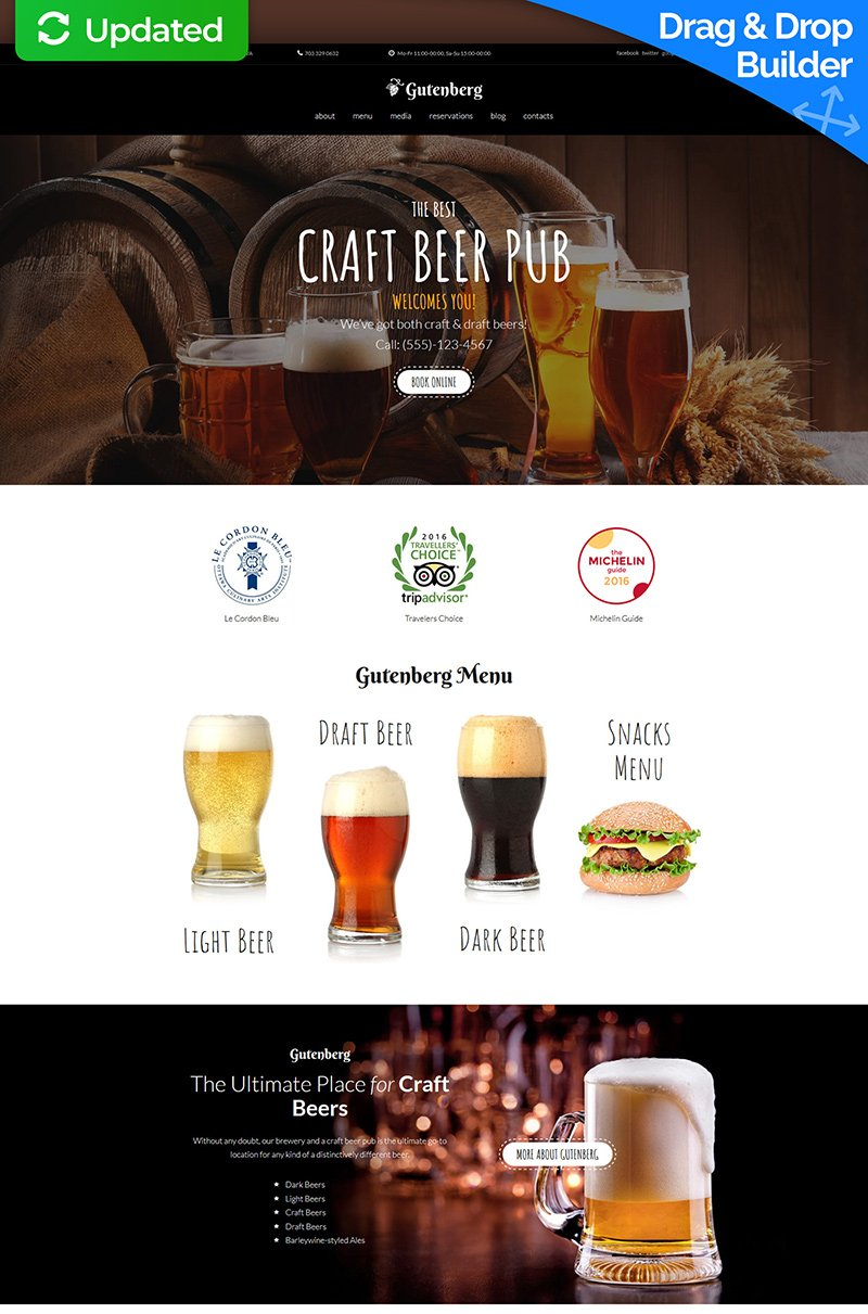 """GutenBerg - Craft Beer Pub"" - адаптивний MotoCMS 3 шаблон №63736"