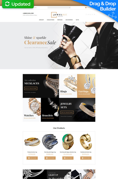 Jewelry Responsive MotoCMS Ecommerce Template #63720