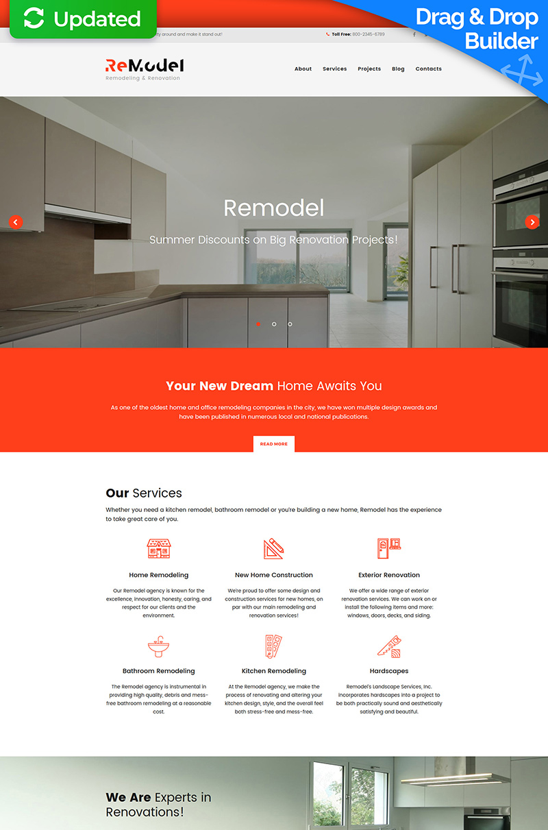 "Moto CMS 3 Template namens ""Remodel - Renovation and Interior Design"" #63735"
