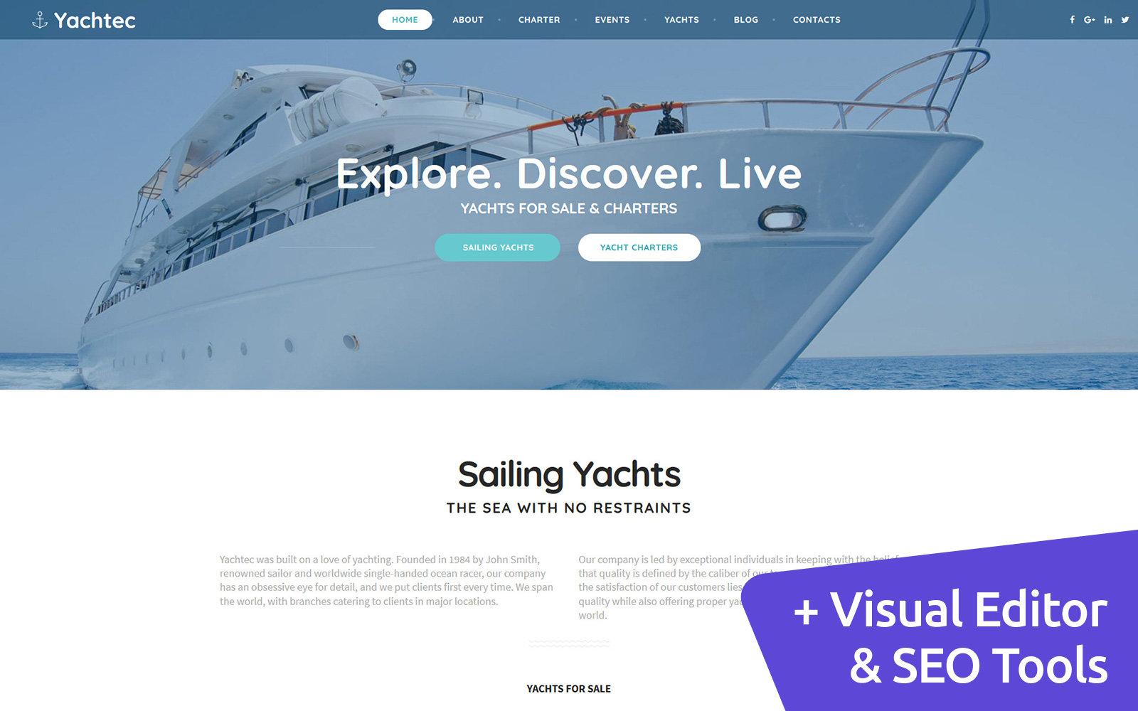 "Plantilla Moto CMS 3 ""Yacht Charter"" #63711"