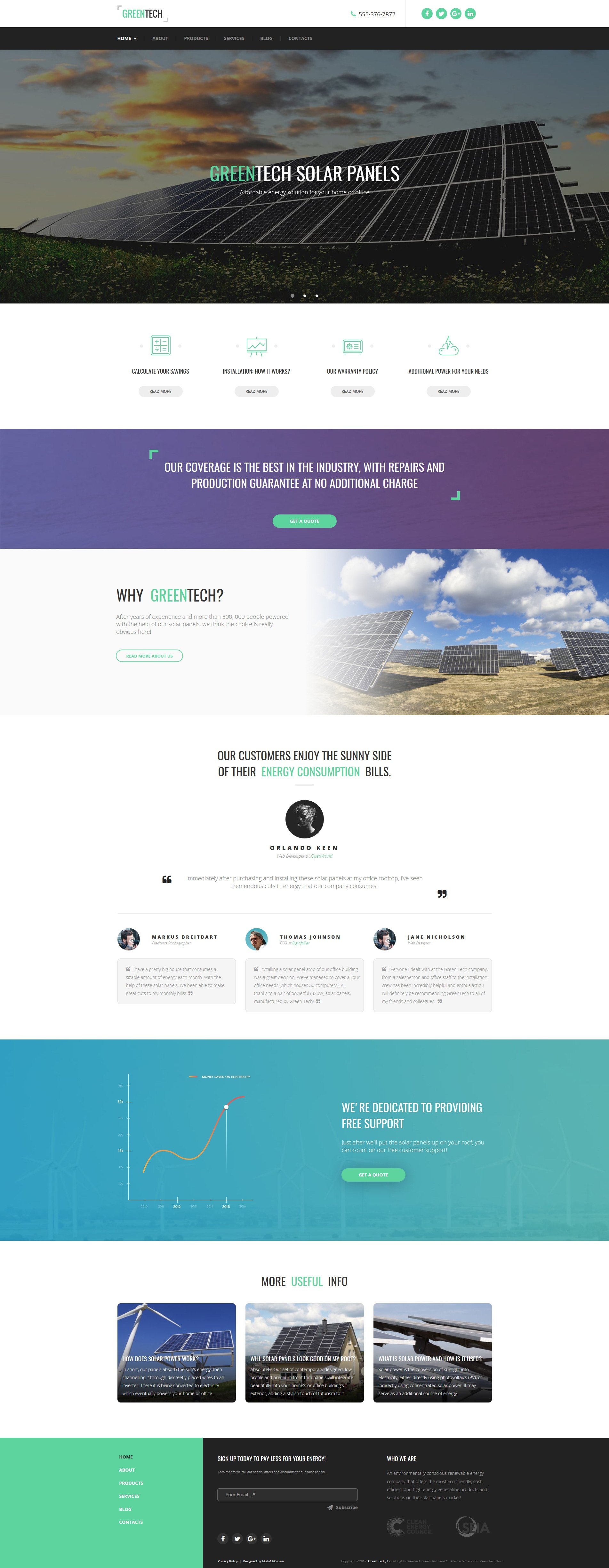 Responsive Moto CMS 3 Template over Zonne-energie №63731