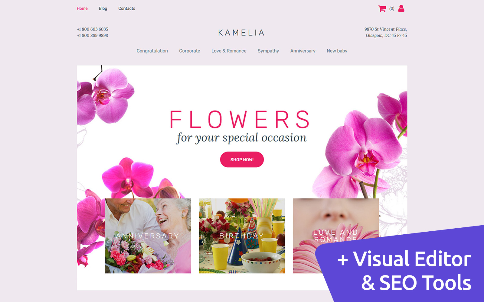 Responsywny ecommerce szablon MotoCMS Kamelia - Flower Shop #63718