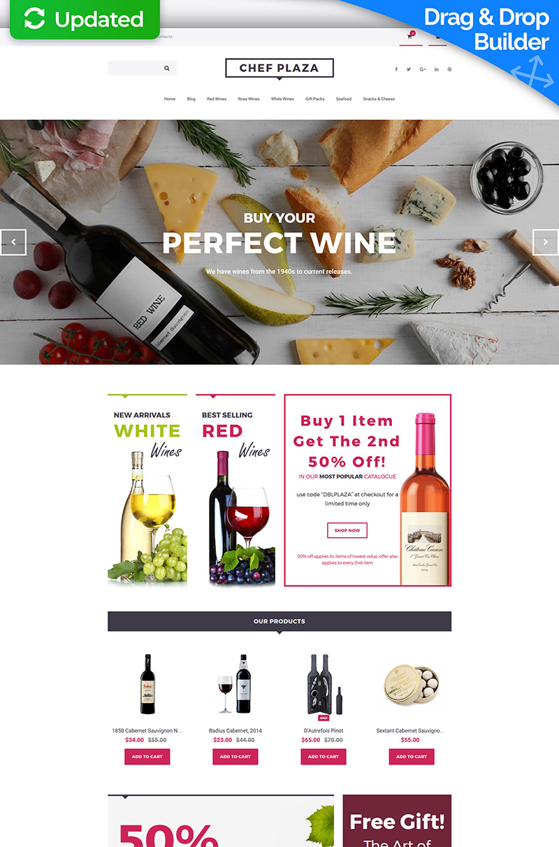 Reszponzív Chef Plaza - Food & Wine Store MotoCMS Ecommerce sablon 63748