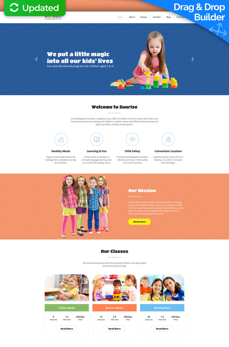 Sunrise - Kids Center & Kindergarten Moto CMS 3 Template New Screenshots BIG