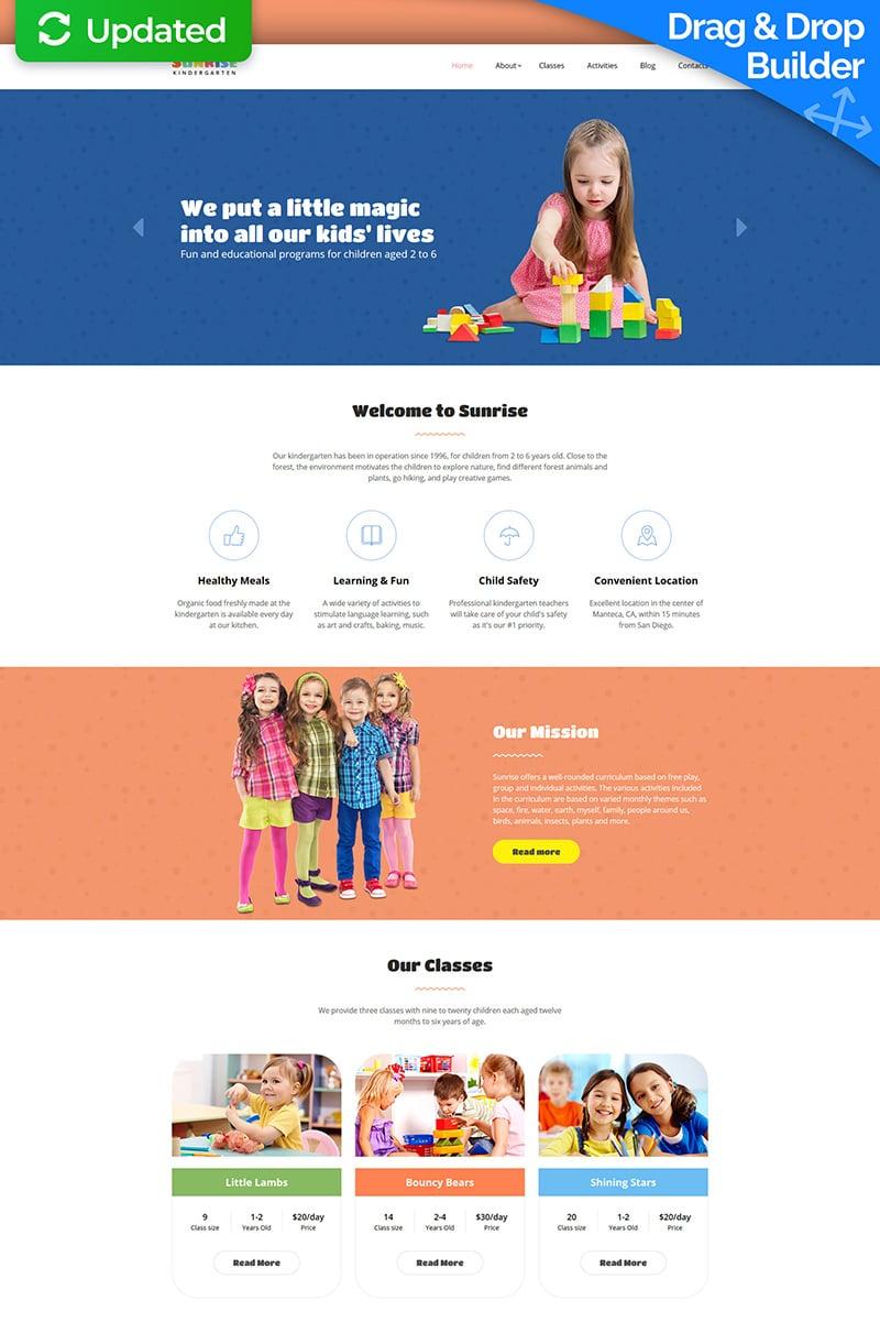 """Sunrise - Kids Center & Kindergarten"" Responsive Moto CMS 3 Template №63744"