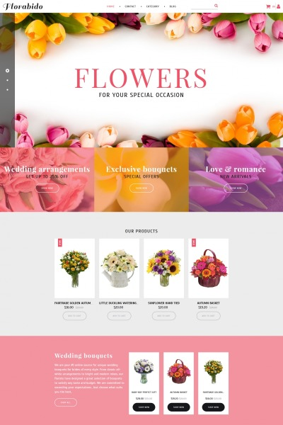 Flower Shop Responsive Tema MotoCMS E-commerce