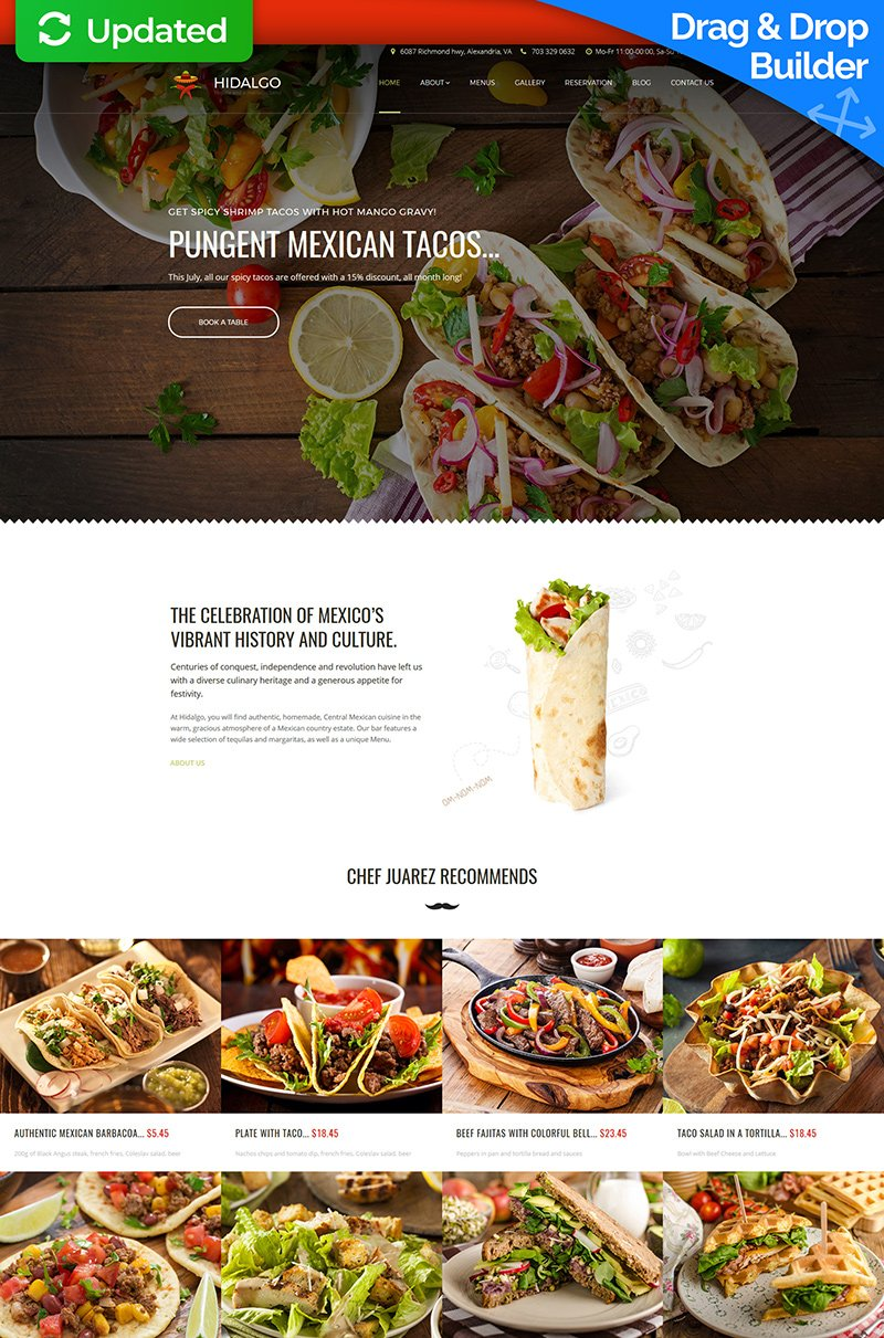 Templates Moto CMS 3 Flexível para Sites de Restaurante Mexicano №63733