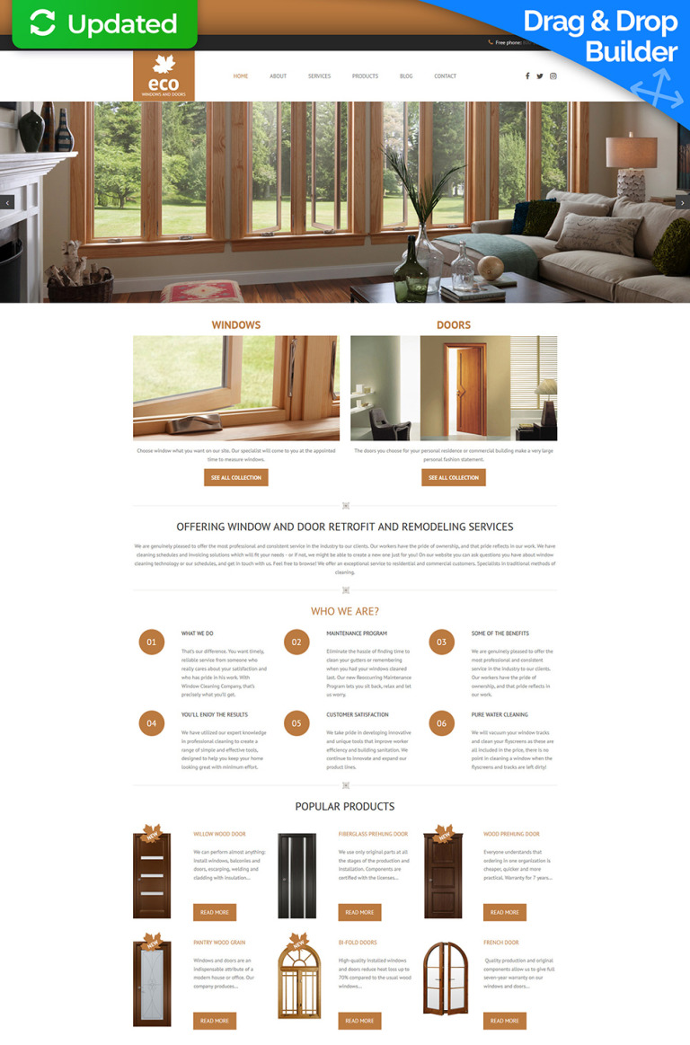 Windows & Doors Responsive Moto CMS 3 Template New Screenshots BIG