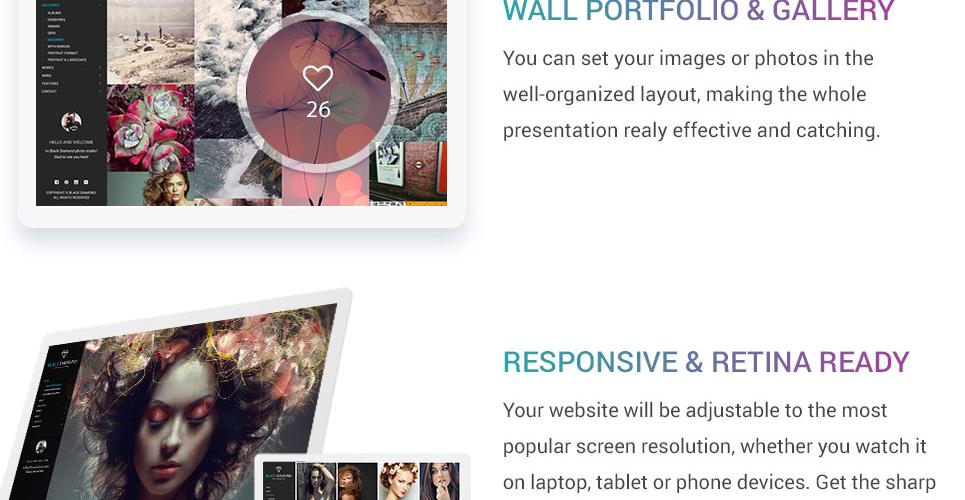 Diamond - Photography & Videography Website Template #63804