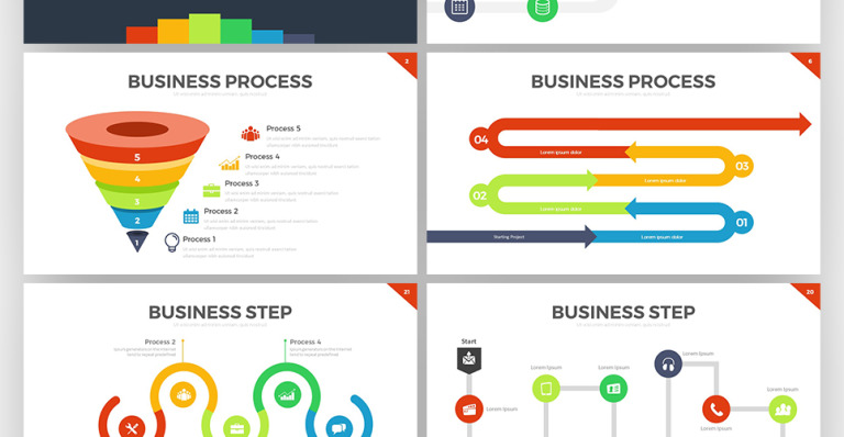 alva presentation template is powerpoint template that containing process infographic can be used to explaining your business process in presentation