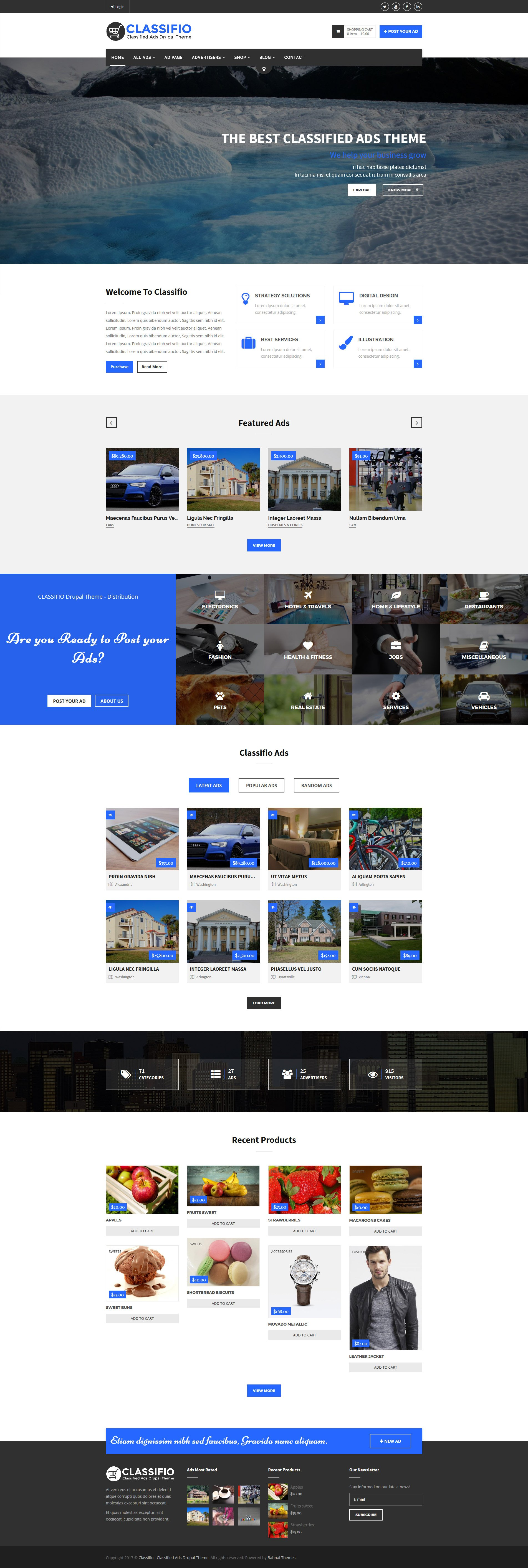 Website Design Template 63835 - listings classifieds responsive drupal google maps corporate business companies advertising