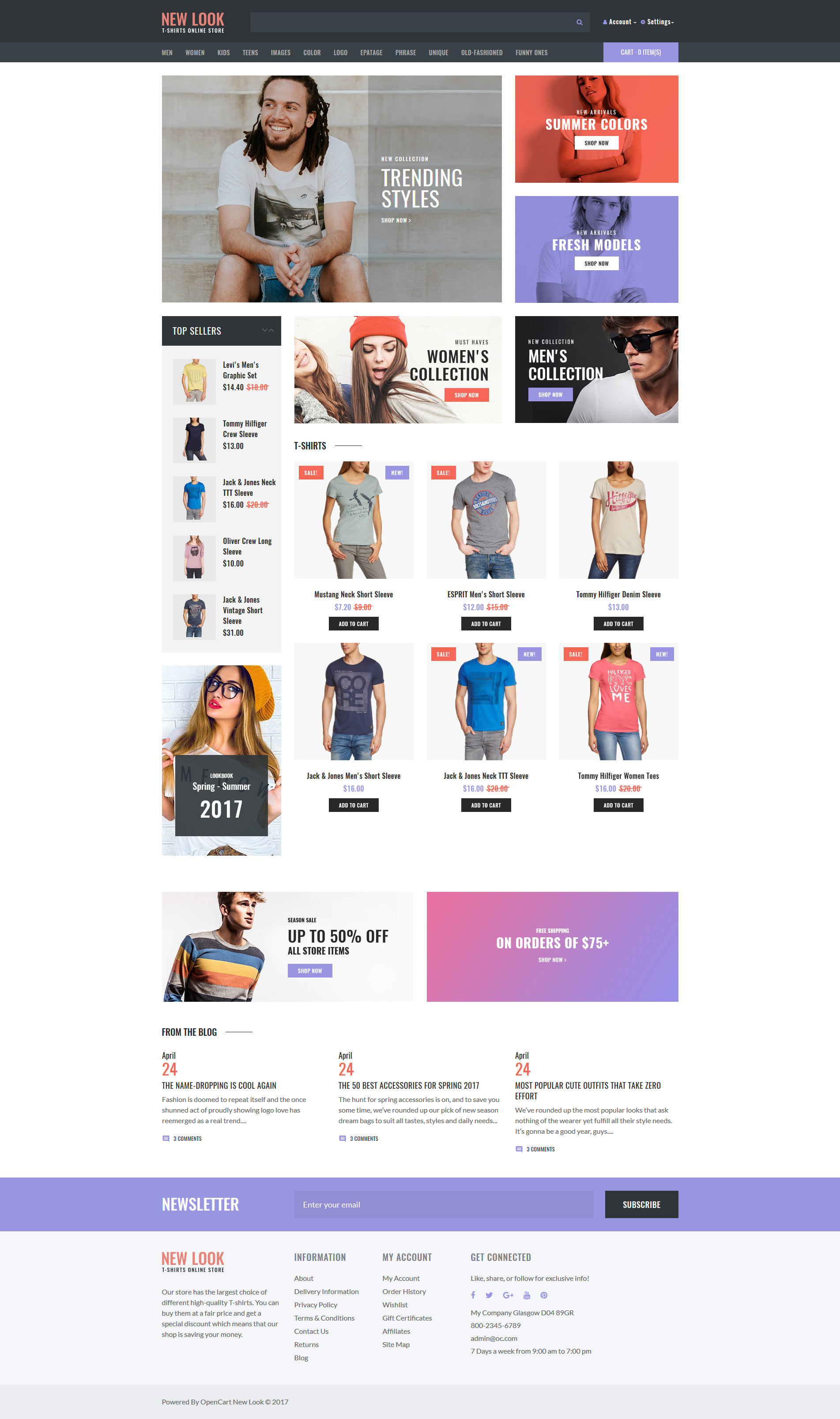 Адаптивный OpenCart шаблон №63829 на тему магазин футболок - скриншот