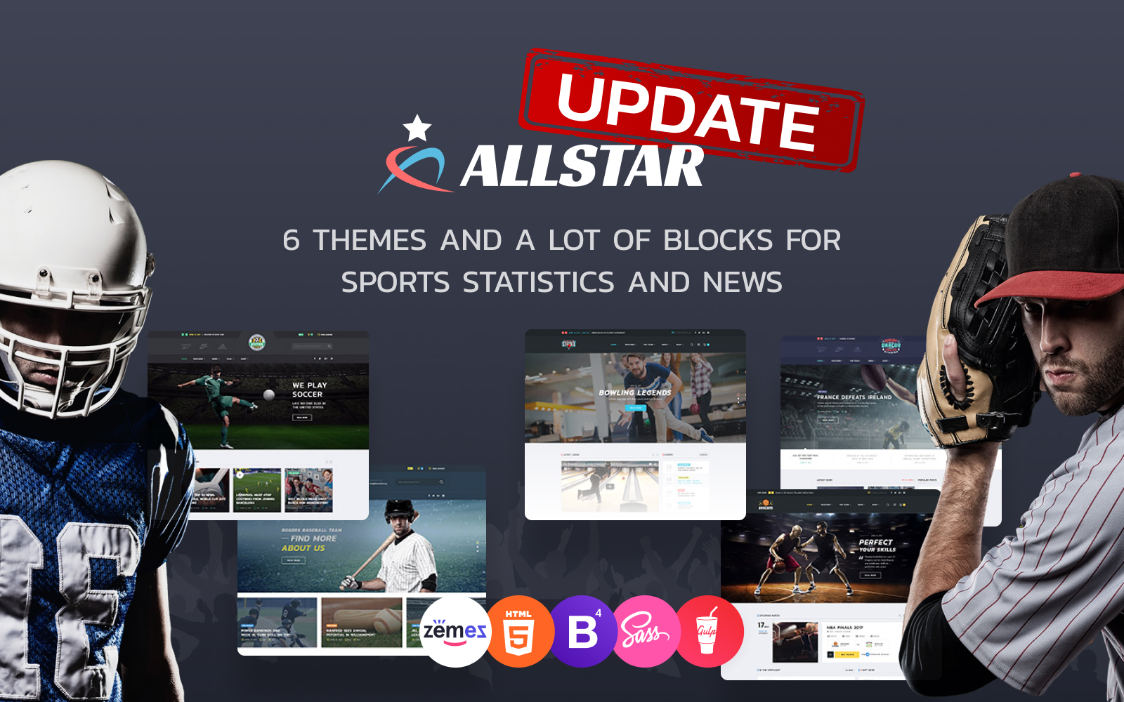 ALLSTAR - Sport Multifunctionele Bootstrap 4-websitesjabloon