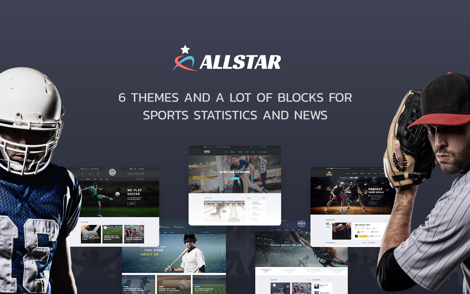 """""""ALLSTAR - Sport Multipurpose Bootstrap 4"""" 响应式网页模板 #63853"""