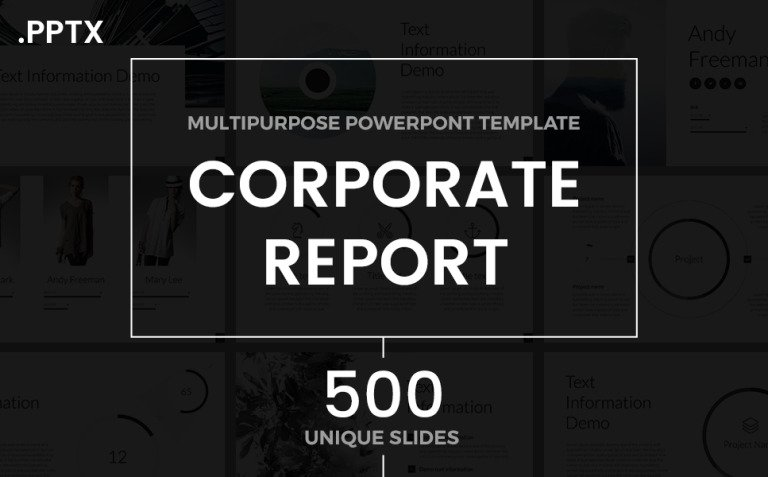 Corporate Report PowerPoint Template New Screenshots BIG