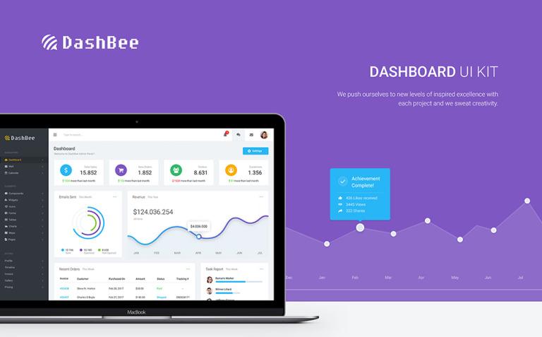 DashBee - Dashboard UI Kit UI Elements New Screenshots BIG