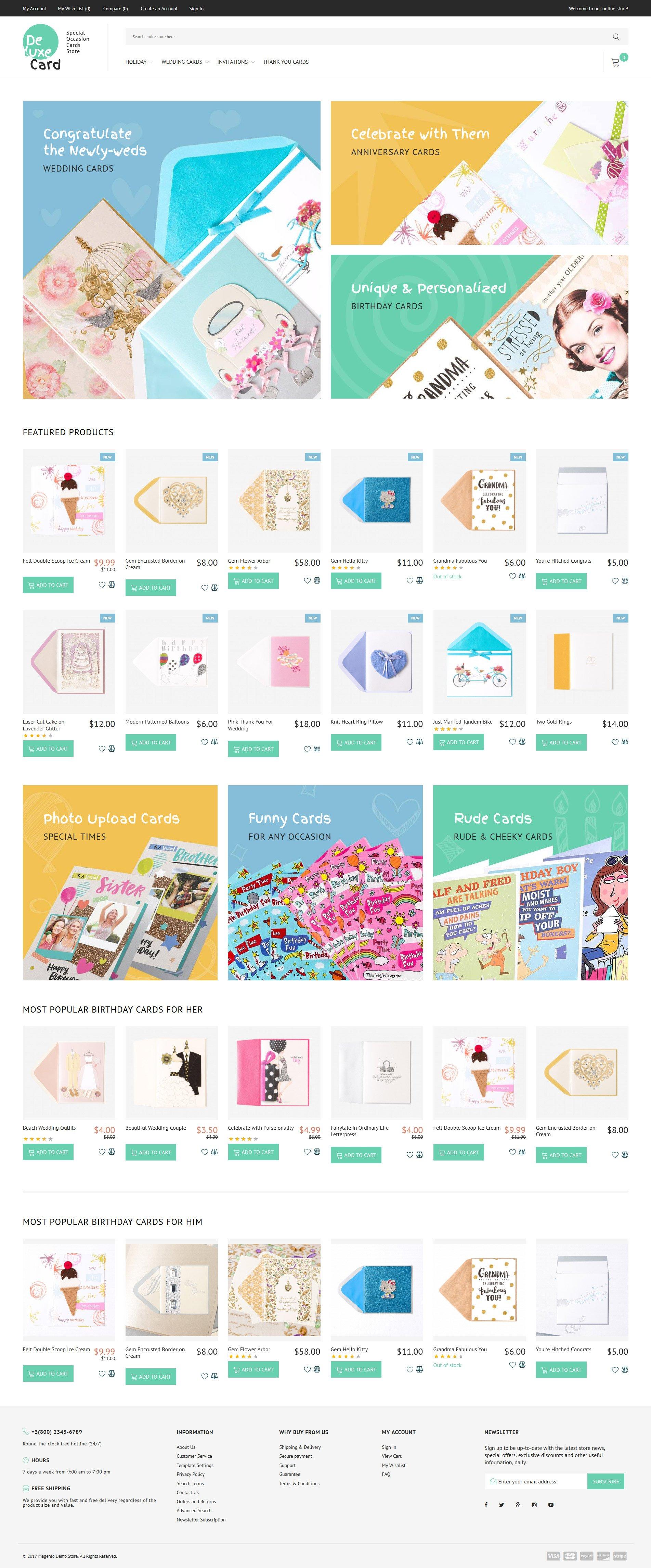 """Deluxe Card - Special Occasion Cards Store"" - адаптивний Magento шаблон №63846 - скріншот"