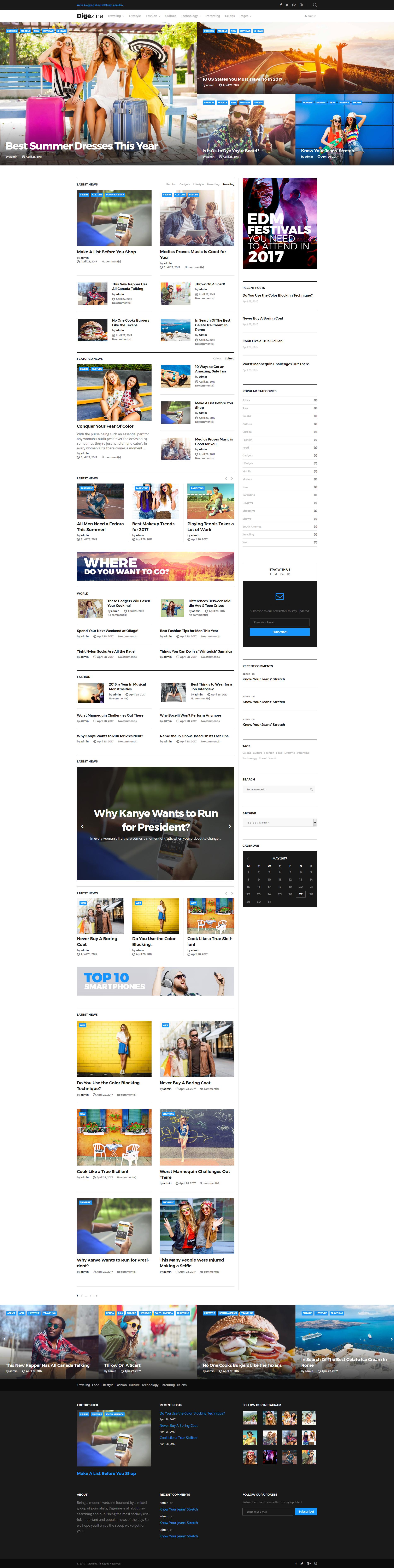 """Digezine - News Magazine"" 响应式WordPress模板 #63850"