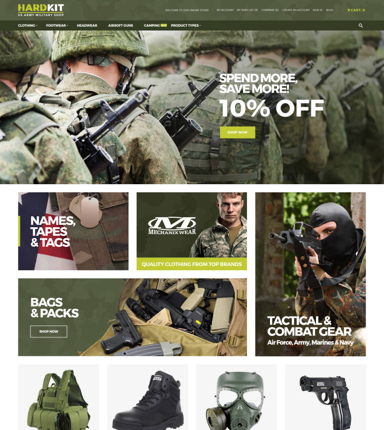 HardKit - US Army Military Shop Magento Theme