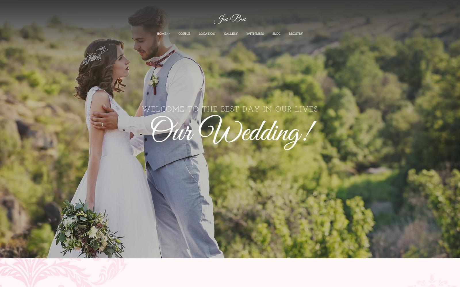 """Jen+Ben - One Page Wedding"" - адаптивний WordPress шаблон №63832"