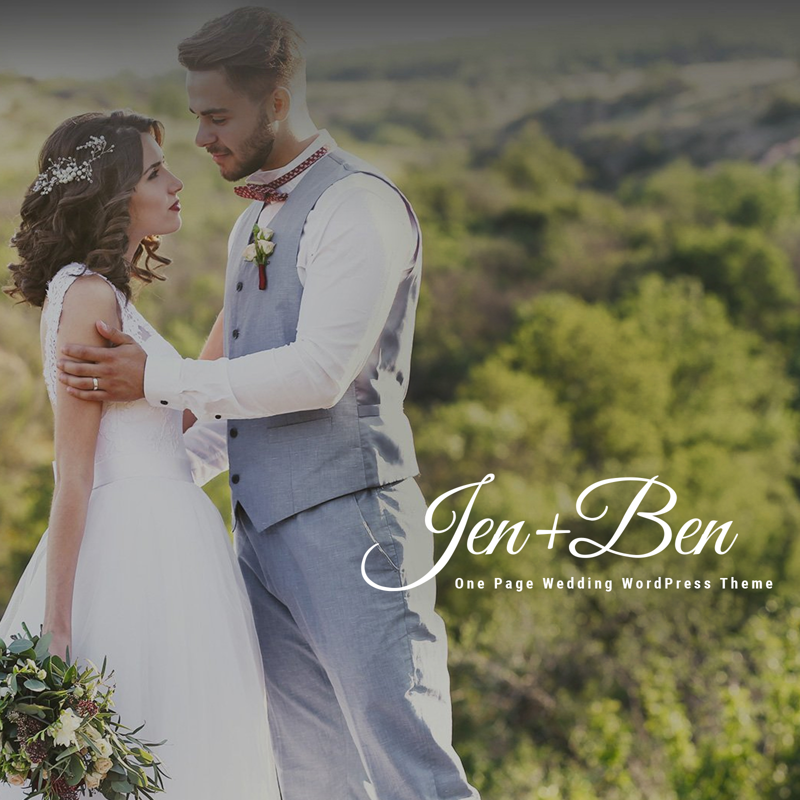"""Jen+Ben - One Page Wedding"" - адаптивний WordPress шаблон №63832 - скріншот"