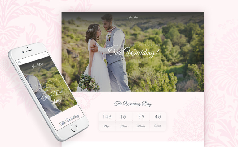 Jen+Ben - One Page Wedding WordPress Theme New Screenshots BIG