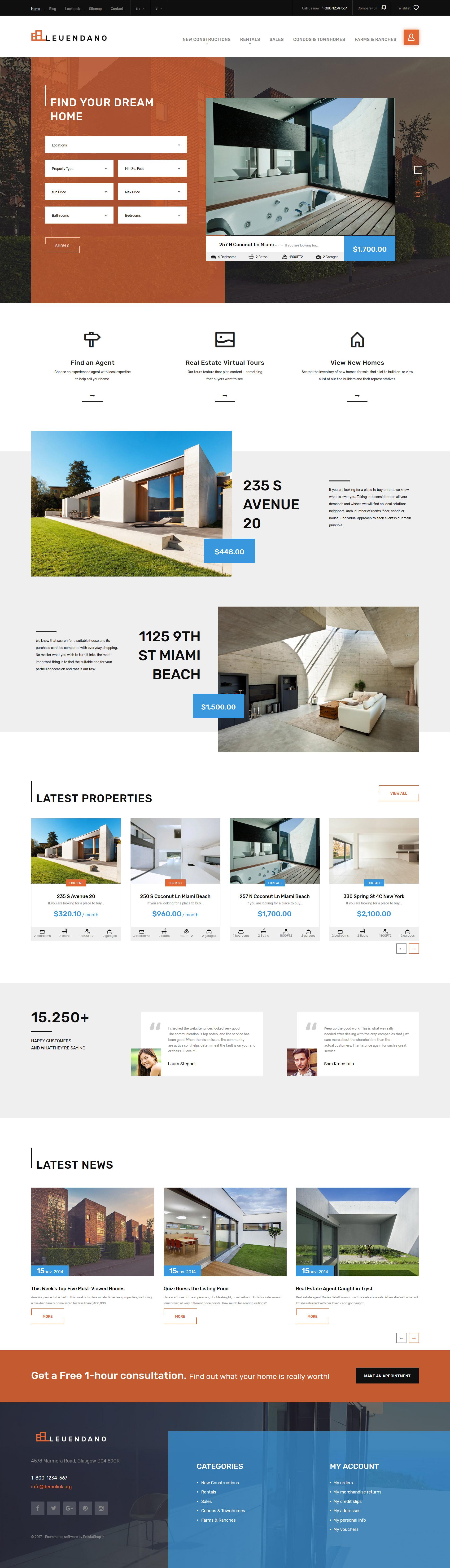 """Leuendano - Real Estate Agency Responsive"" - адаптивний PrestaShop шаблон №63856"