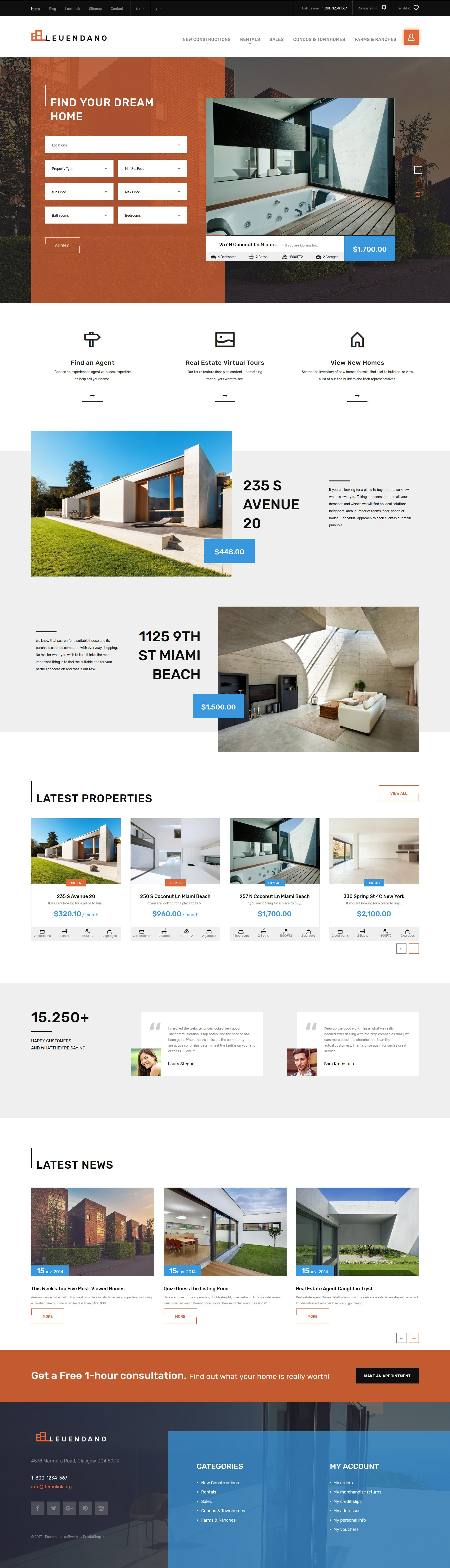 """Leuendano - Real Estate Agency Responsive"" 响应式PrestaShop模板 #63856"