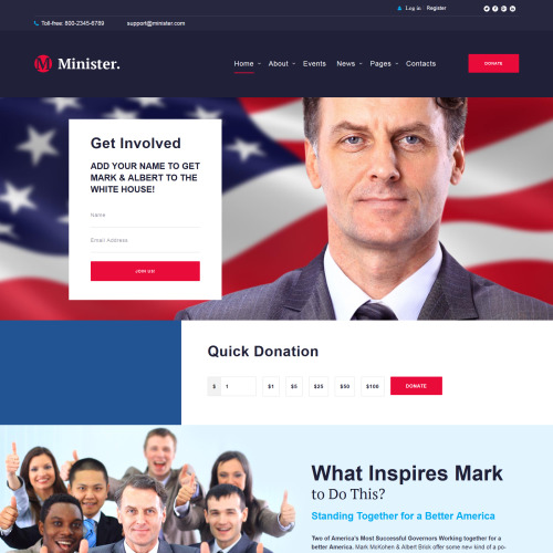 Minister  - WordPress Political Organization Template