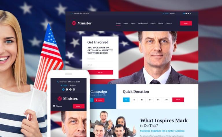 Minister - Political Candidate Responsive WordPress Theme New Screenshots BIG