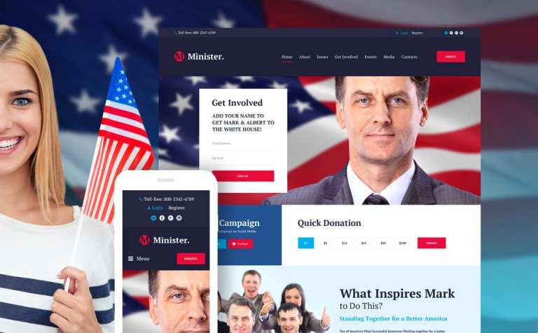 Minister - Political Candidate Responsive WordPress Theme