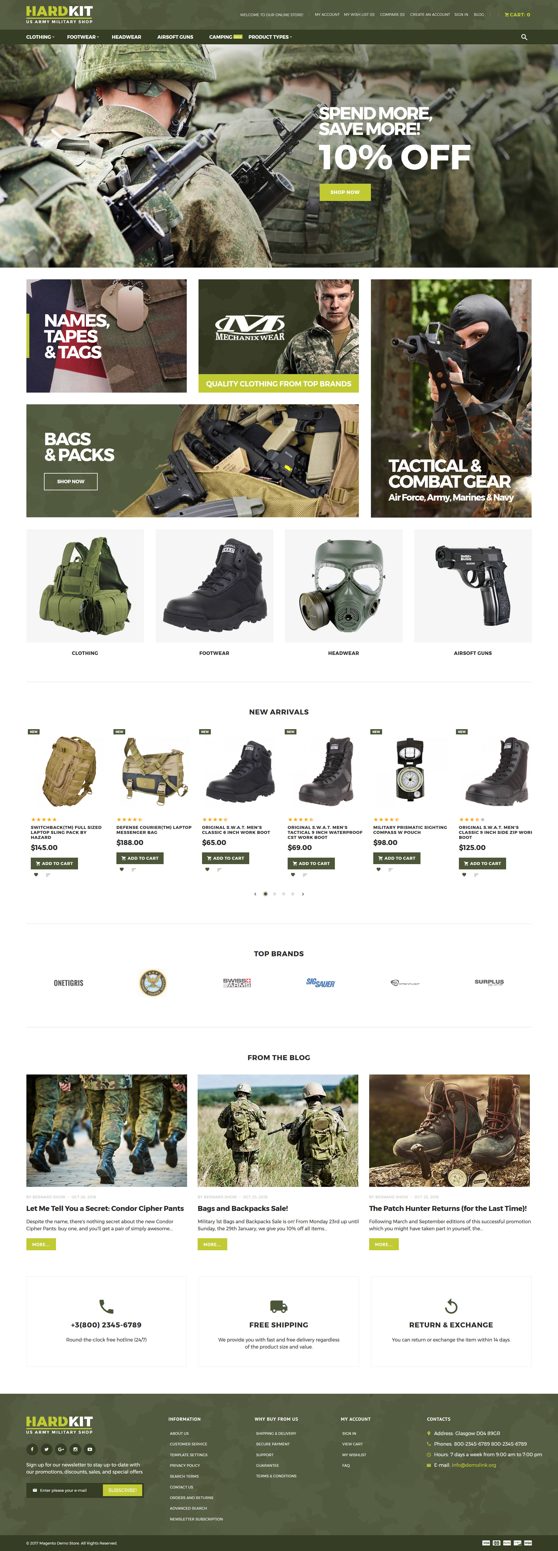"Modello Magento Responsive #63845 ""HardKit - US Army Military Shop"""