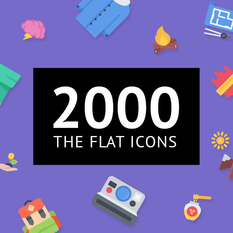 "Modello Pacchetto Icone #63860 ""The Flat Icons 2000"" - screenshot"
