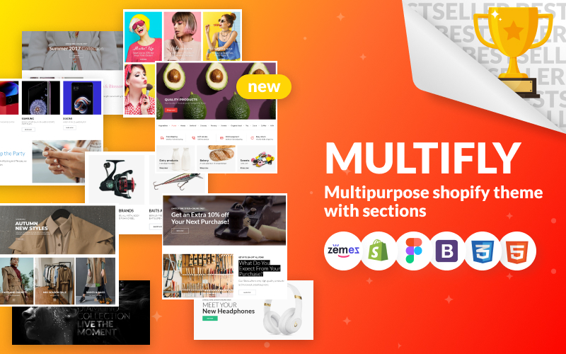 """Multifly - Multipurpose Online Store"" thème Shopify adaptatif #63842"