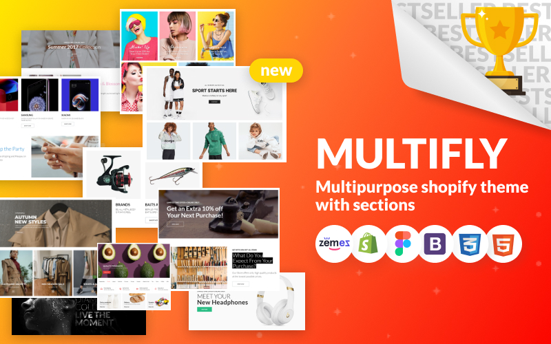 """Multifly - Multipurpose Online Store"" 响应式Shopify模板 #63842"
