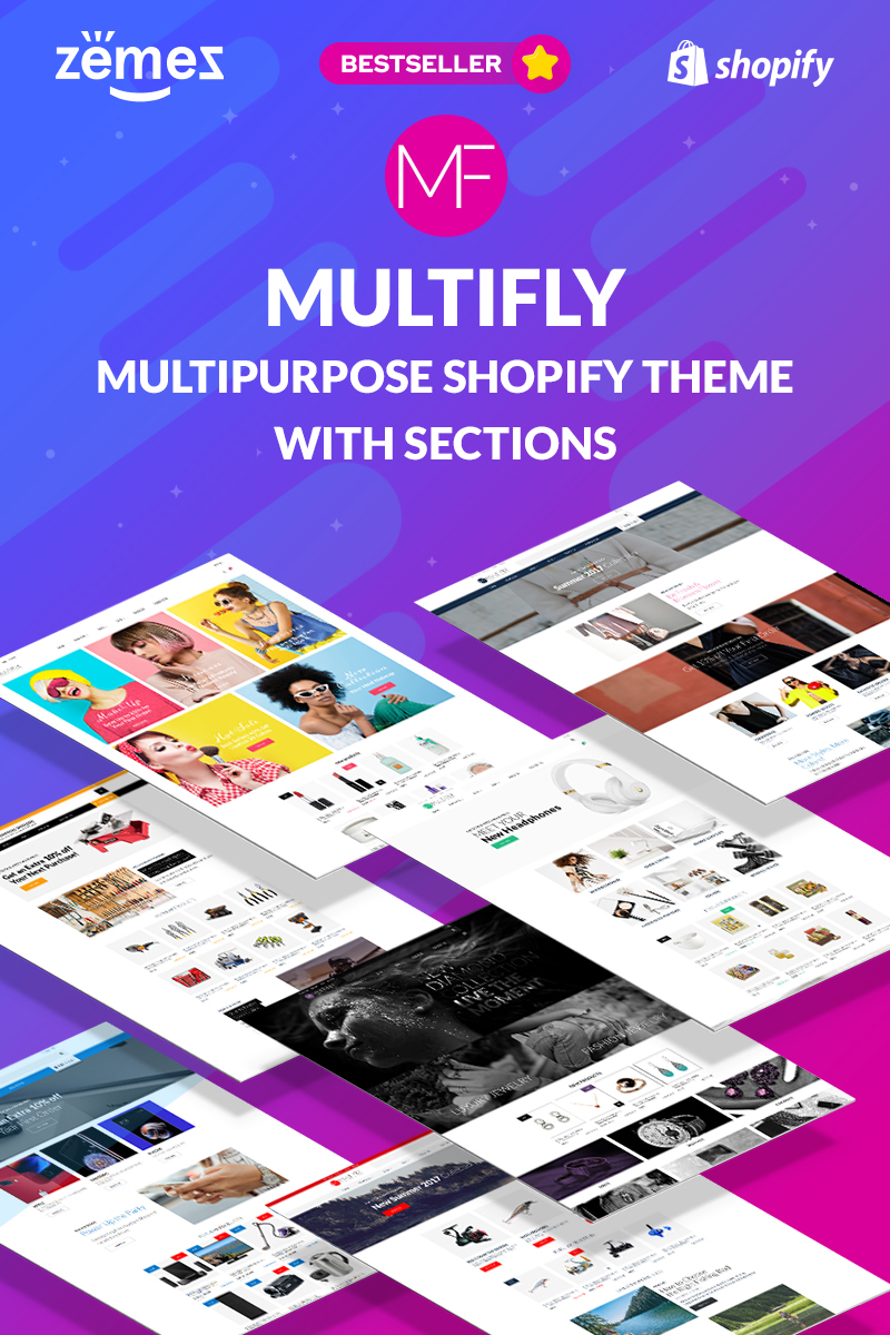 """Multifly - Multipurpose Online Store"" 响应式Shopify模板 #63842"
