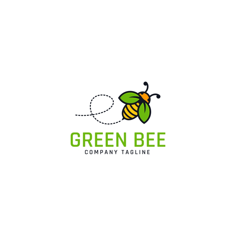 Nature Green Bee Logo Template
