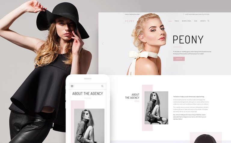 Peony - Fashion Modelling Agency WordPress Theme New Screenshots BIG