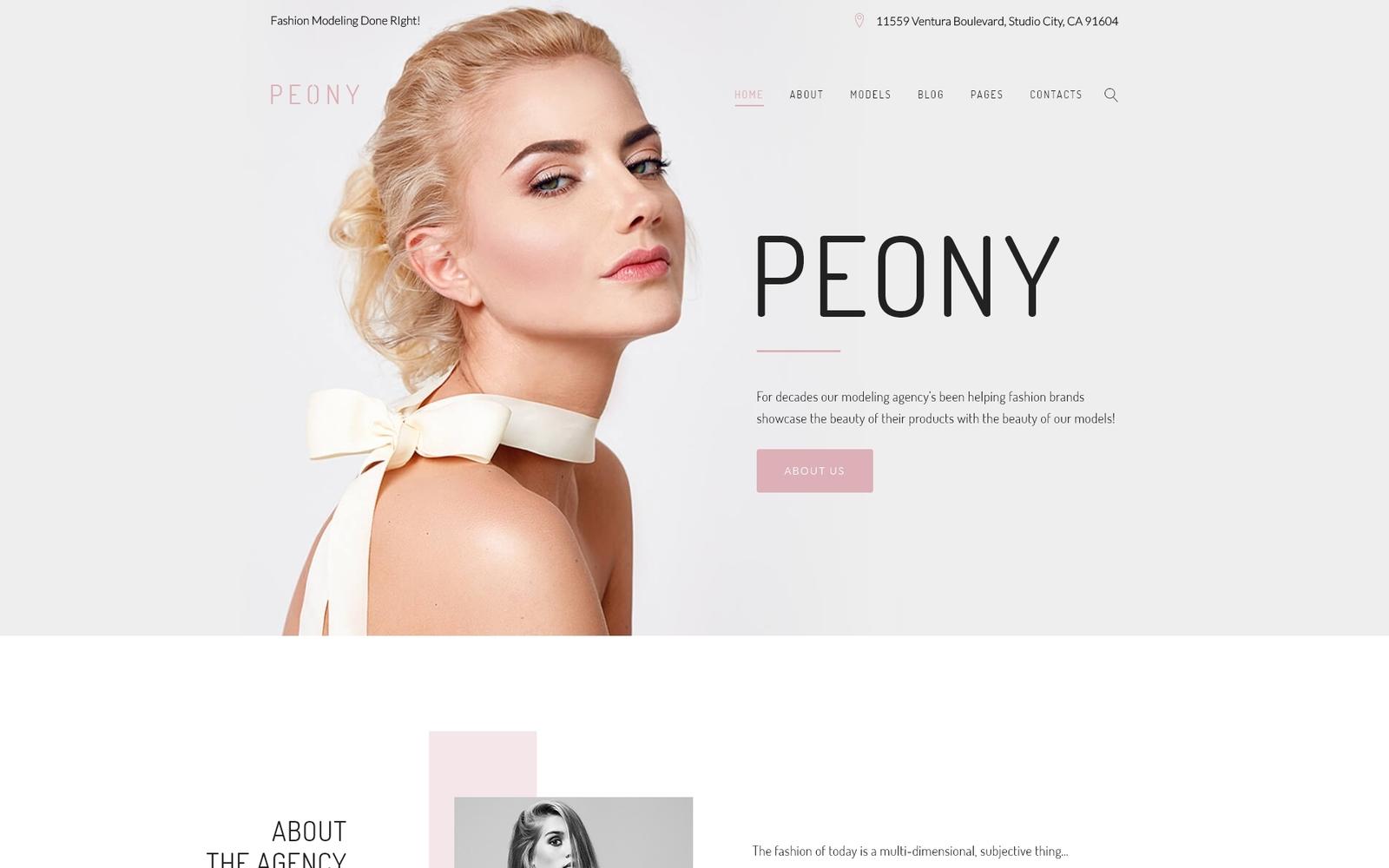 Peony - Fashion Modelling Agency WordPress Theme - screenshot