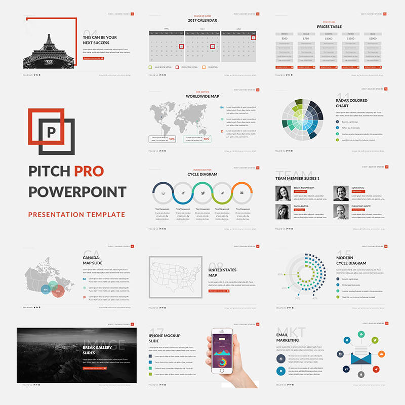 """Pitch Pro"" PowerPoint Template №63876"