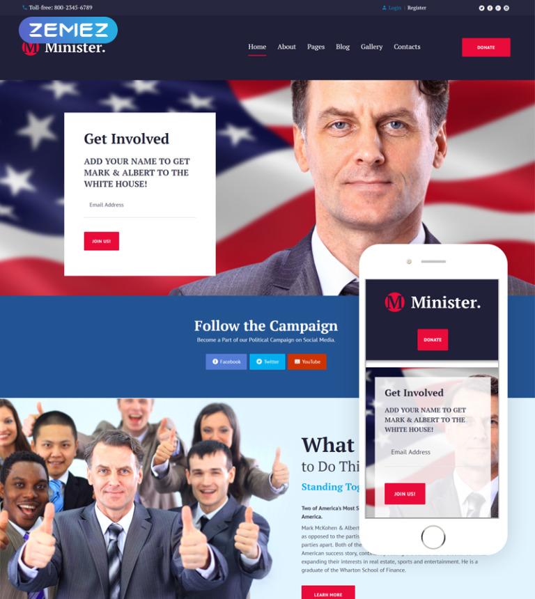 Political Candidate Responsive Joomla Template #63877